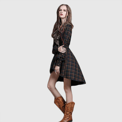 Cuff Sleeve Ruffle Unique Tartan Dress