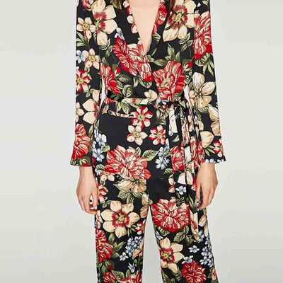 Long Sleeve Lapels Colorful Floral Print Blazer
