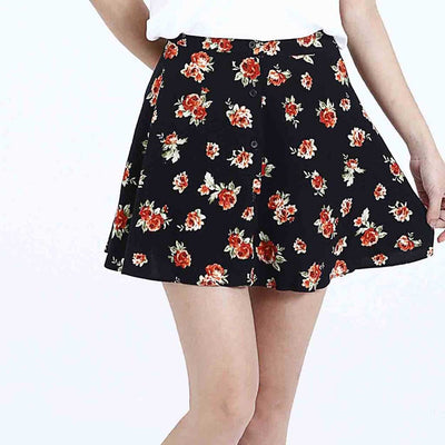 Medium Rise Sweet Floral Embroidery Skirt