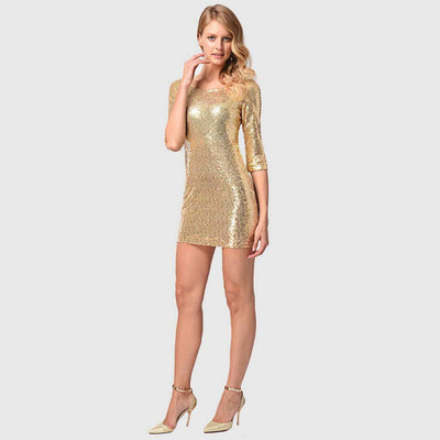 3/4 Length Sleeve Sequin Stunning Plain Dress