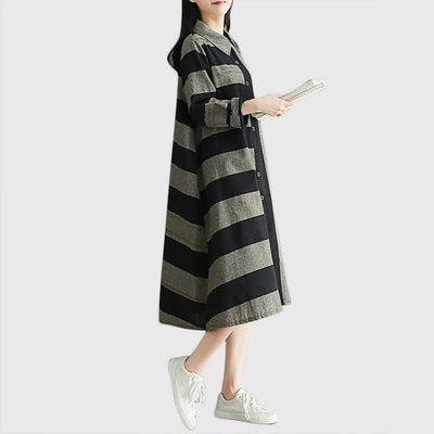 Cuff Sleeve Pocket Edgy Striped Dress
