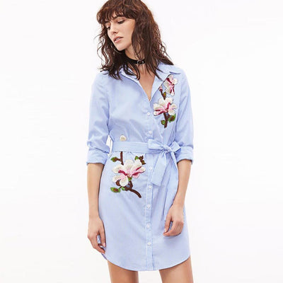 Long Sleeve Shirt Collar Chic Floral Embroidery Dress
