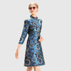 3/4 Length Sleeve Button Stunning Floral Embroidery Dress