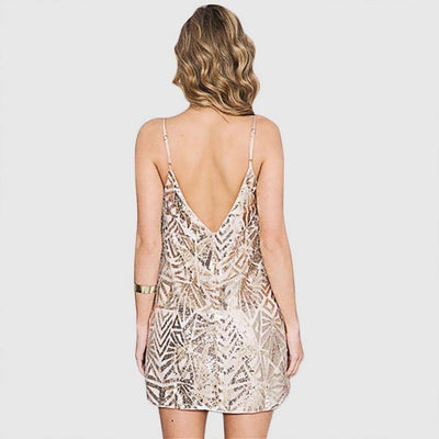 Sleeveless Sequin Party Geometric Print Dress