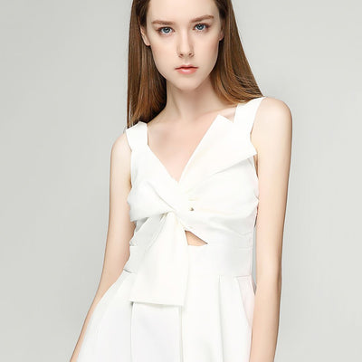 Sleeveless Bow Edgy Plain Dress