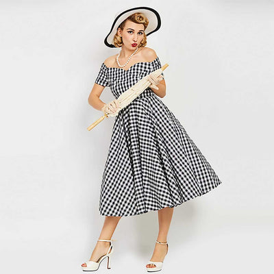 Cap Sleeve Lace Retro Gingham Dress
