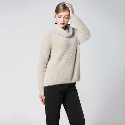 Long Sleeve High Neck Cozy Plain Sweater
