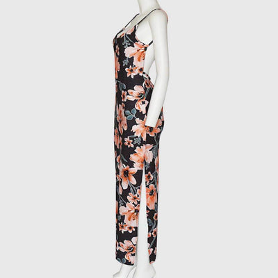 Sleeveless Scoop Neck Floral Print Sheath Long Dress