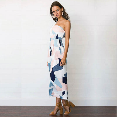 Sleeveless Strapless All-in-One Geometric Print Jumpsuit