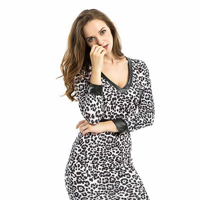Long Sleeve Deep V Neck Sexy Leopard Print Dress