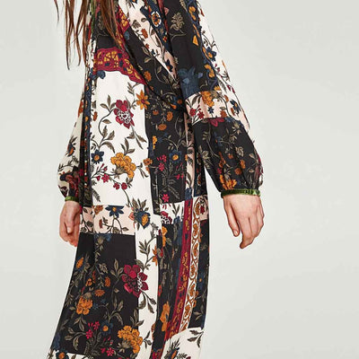 Batwing Sleeve V Neck Hippy Floral Print Dress