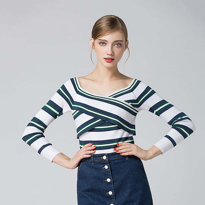 Long Sleeve Off Shoulder Nautical Striped Sweater
