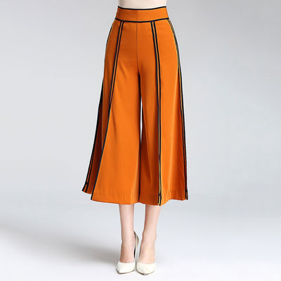 Regular Waist Piping Edgy Plain Pants