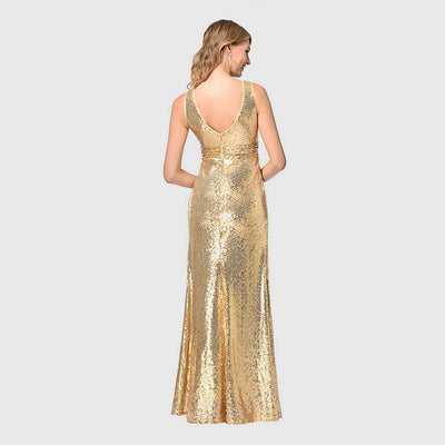 Sleeveless Sequin Glamorous Plain Gown