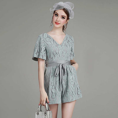 Bell Sleeve Ribboned Pretty Floral Embroidery Playsuit