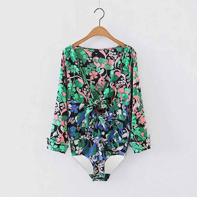 Cuff Sleeve Deep V Neck Sexy Floral Print Bodysuit