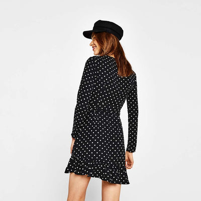 Long Sleeve Ruffle Sweet Polka Dot Dress
