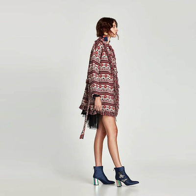 Long Sleeve Collarless Kitsch Tribal Print Coat