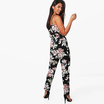 Sleeveless Spaghetti Strap Funky Floral Print Jumpsuit