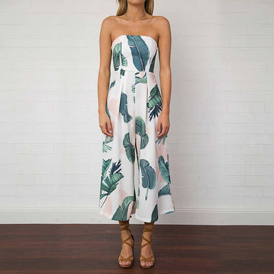 Sleeveless Strapless Tropical Natural Print Jumpsuit
