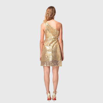Sleeveless Sequin Glittery Plain Dress
