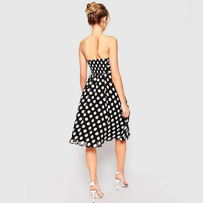 Sleeveless Ruched Party Polka Dot Dress