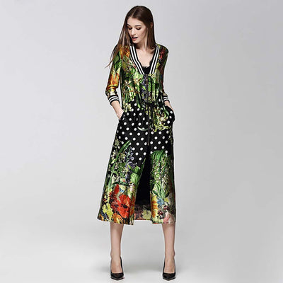 3/4 Length Sleeve Zipper On-Trend Floral Print Coat