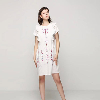 Short Sleeve Round Neck Unusual Tribal Embroidery Dress