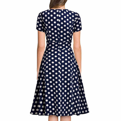 Short Sleeve Sweetheart Neck Retro Polka Dot Dress