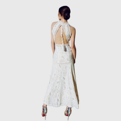 Sleeveless Halter Neck Tassels Backless Long Gown