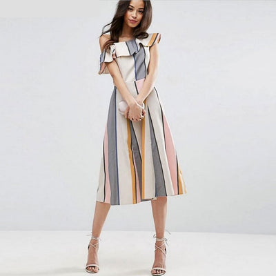 Sleeveless One Shoulder Modern Striped Dress