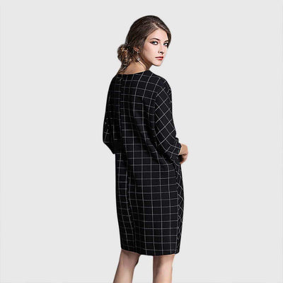 3/4 Length Sleeve Belt Stylish Geometric Print Dress