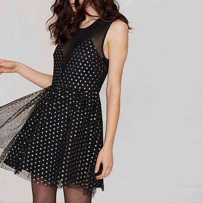 Sleeveless Panelled Party Polka Dot Dress