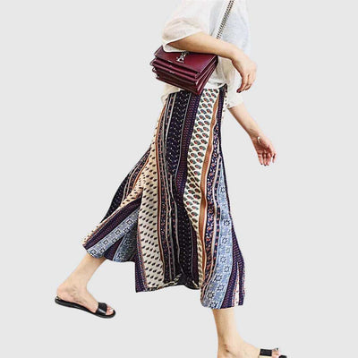 Medium Rise Wide Leg Boho Tribal Print Pants