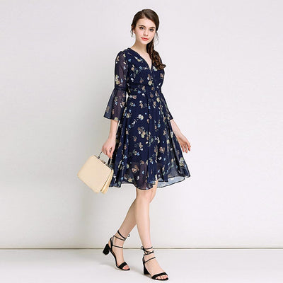 Trumpet Sleeve V Neck Pretty Floral Print Dress