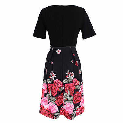 Short Sleeve Round Neck Sweet Floral Print Dress