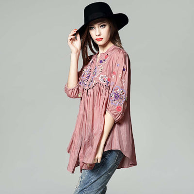 3/4 Length Sleeve V Neck Hippy Floral Embroidery Smock