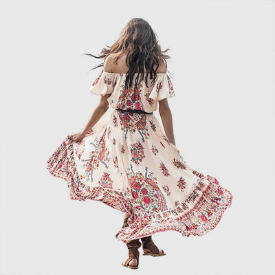 Flounce Sleeve Round Neck Hippy Floral Print Dress
