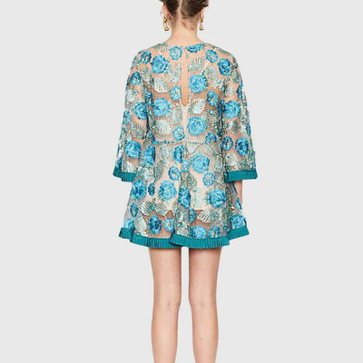 3/4 Length Sleeve Round Neck Floral Swing Short Dress