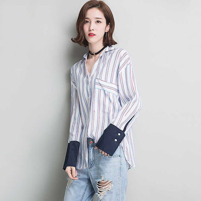 Cuff Sleeve Pocket Edgy Striped Blouse