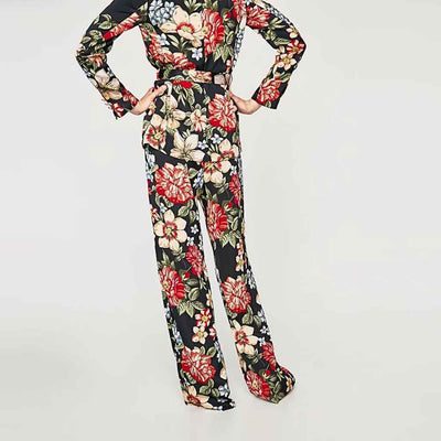 Medium Rise Flared Hippy Floral Print Pajama Pants