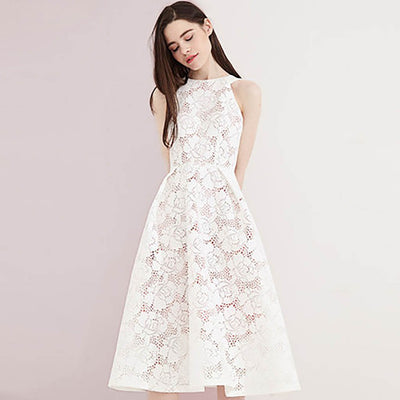 Sleeveless Lace Feminine Floral Embroidery Dress