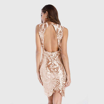 Sleeveless Sequin Sparkly Abstract Embroidery Dress