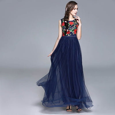 Sleeveless Round Neck Stunning Floral Embroidery Dress