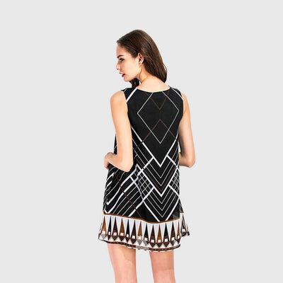 Sleeveless Round Neck Modern Geometric Print Dress
