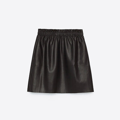 Regular Waist Edgy Plain PU Leather Skirt