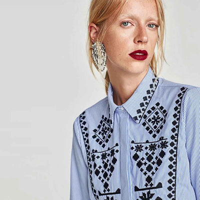 Cuff Sleeve Shirt Collar Boho Tribal Embroidery Shirt