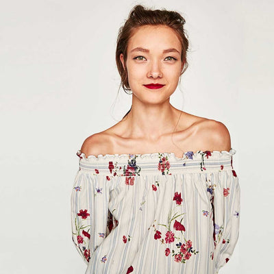 Puff Sleeve Off Shoulder Boho Floral Print Smock
