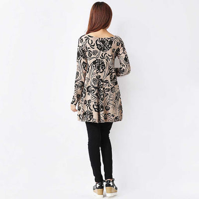 Long Sleeve Scoop Neck Sweet Floral Print Dress