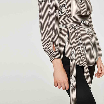 Cuff Sleeve Belted Kitsch Striped Blouse